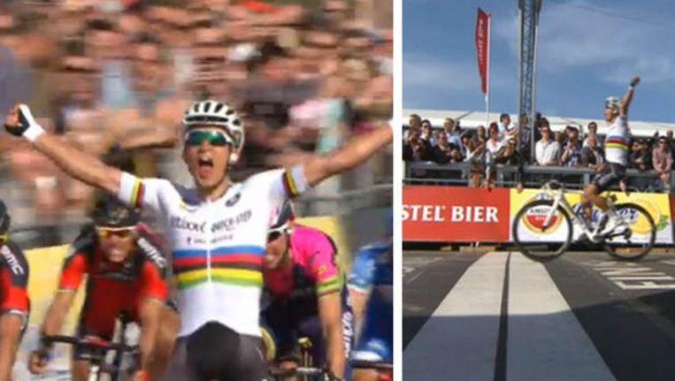 Met een oerkreet van pure Poolse makelij schreeuwt Michal Kwiatkowski zijn overwinning in de Amstel Gold Race uit. Eentje met een historisch randje. Beeld Twitter