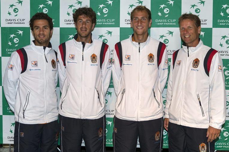 Jean-Julien Rojer, Robin Haase, Thiemo de Bakker en captain Jan Siemerink. Beeld ap