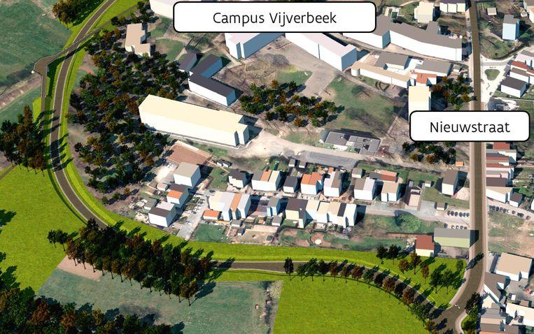 De rondweg zoals hij zal vertrekken vanaf de Nieuwstraat en vervolgens links richting Broekebeekvallei trekt.