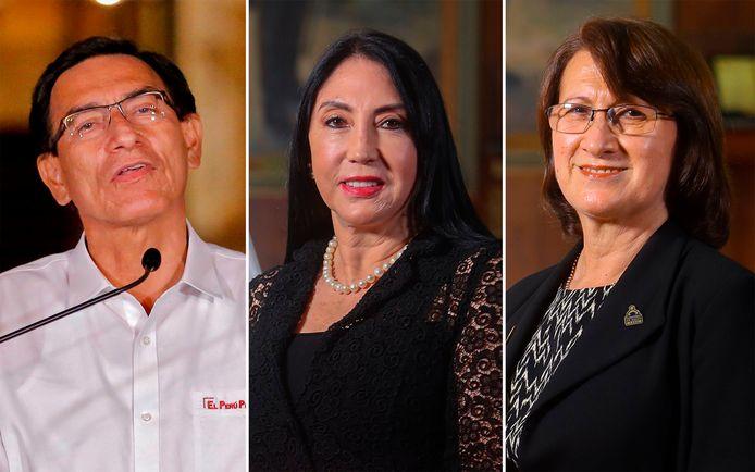 Voormalig president Martín Vizcarra van Peru en zijn ministers Elizabeth Astete en Pilar Mazzetti. Zij hebben allebei ontslag genomen.