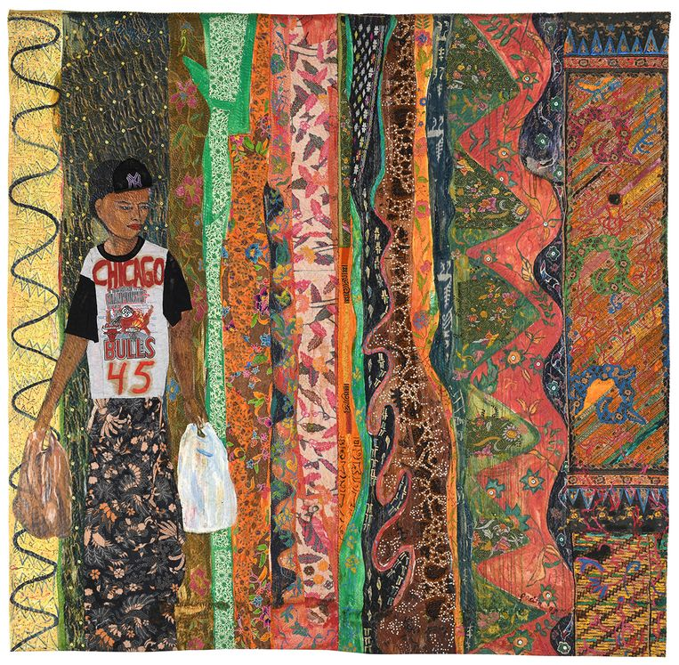 You have to blend in, before you stand out, 1995  Oil, painted cloth, sequins, buttons on stitched and padded canvas  116 x 117 inches (295 x 297 cm) Beeld Courtesy of Pacita Abad Art Esta