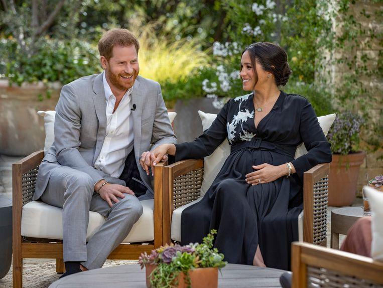 Prins Harry en Meghan tijdens het interview met Oprah Winfrey. Beeld AP
