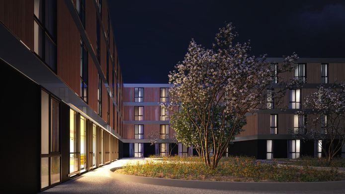Een artist impression van de binnenplaats van het wooncomplex voor arbeidsmigranten dat aan de Corridor in Veghel moet verrijzen.