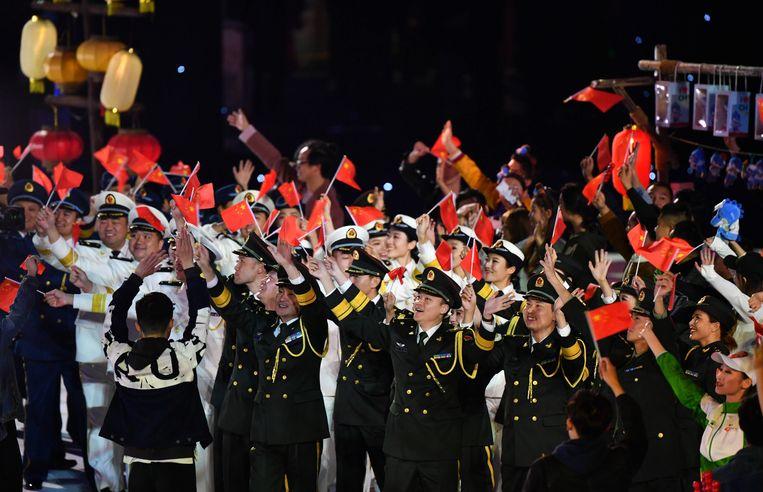 Leden van het Chinese Volksbevrijdingsleger tijdens de slotceremonie van de Militaire Wereldspelen in oktober 2019.  Beeld BSR Agency