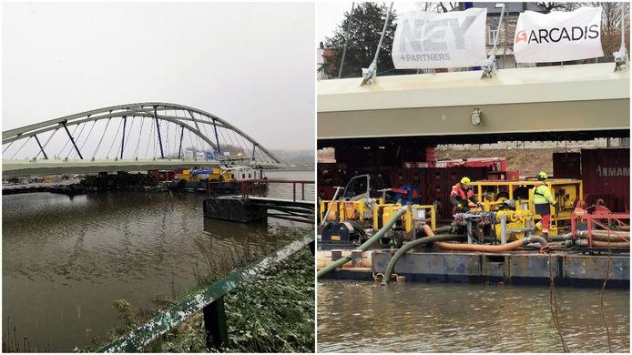 Specialisten zorgen ervoor dat de nieuwe Zuidbrug in Halle op zijn plaats gevaren wordt op het Kanaal Brussel-Charleroi.
