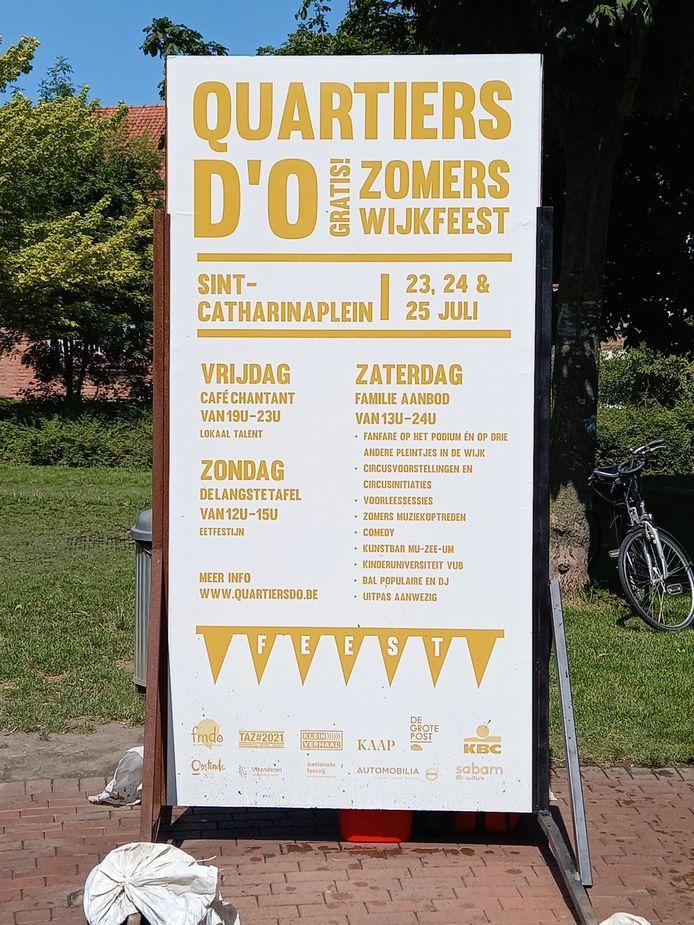 Het planningsbord met de geplande activiteiten in het Sint-Catarinaplein staat er al.