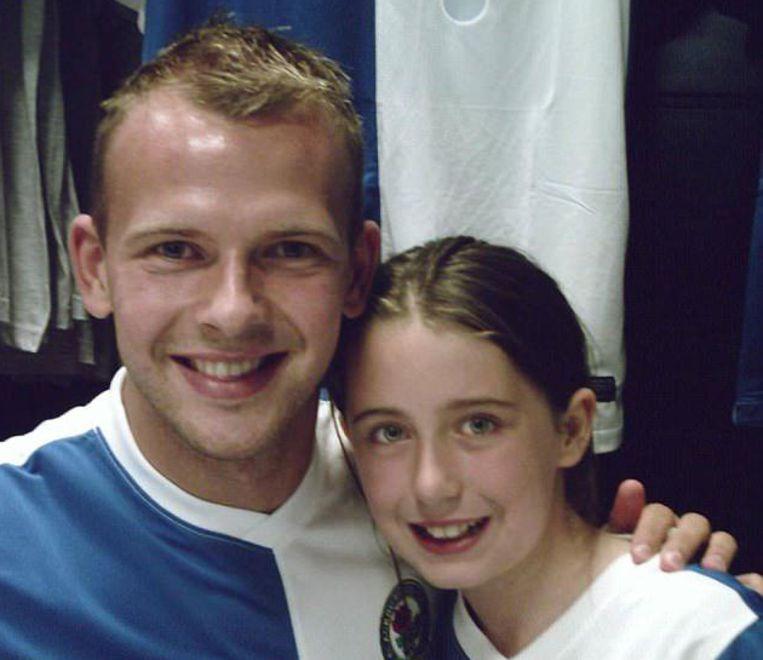 Megan was van de Blackburn Rovers. Hier poseert ze met hun toenmalige spits Jordan Rhodes.