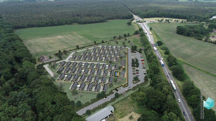 In Vlierden, aan de rand van Helmond, verrijst mogelijk een wijk voor 240 arbeidsmigranten.