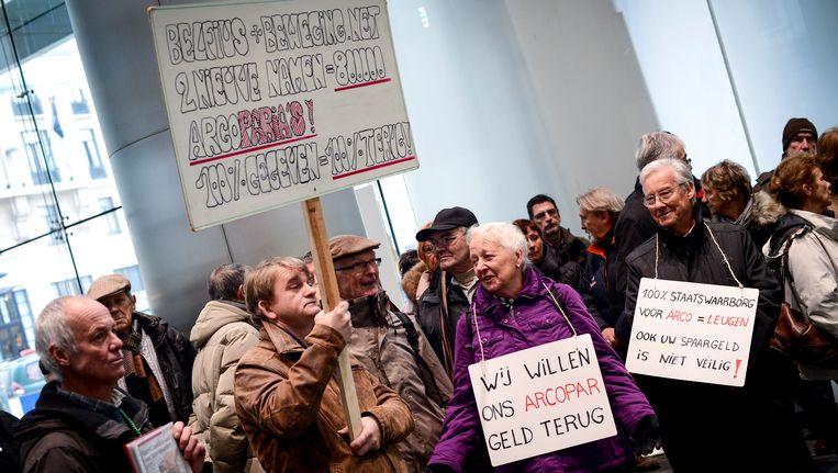 Arco-gedupeerden hielden in december nog een protestactie aan het hoofdkantoor van Belfius in Brussel.