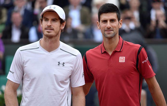 Andy Murray en Novak Djokovic op archiefbeeld.