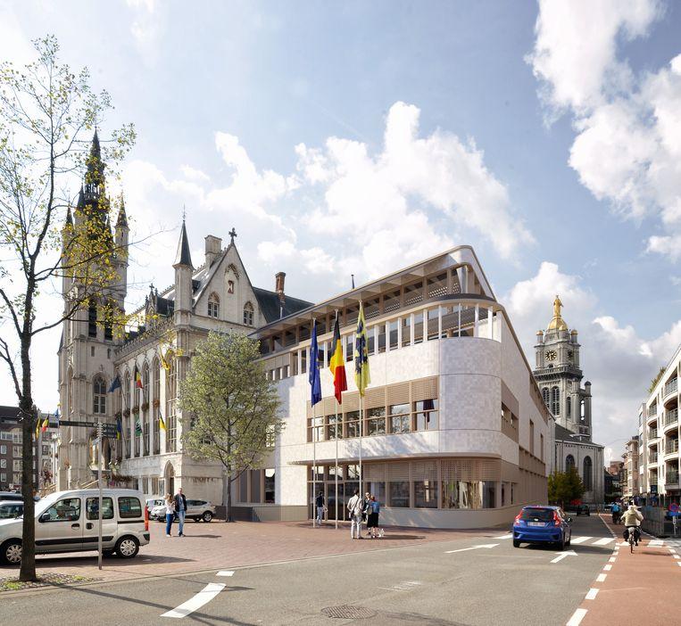 Een zicht op de toekomstige stadhuisvleugel.