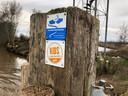 Markering van het Klompenpad in Benschop.
