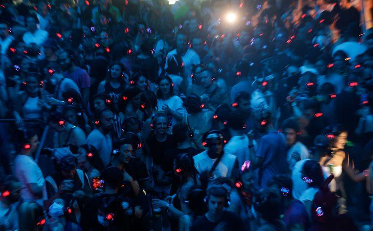 Publiek tijdens dag vier van het Exit-muziekfestival in Novi Sad, Servië. Beeld Getty Images