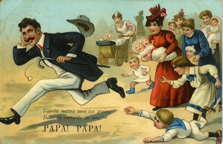Spotprent uit het begin van de 20ste eeuw: 'Papa, ga je al die kindjes in je huwelijksmand stoppen?'  Beeld AVG-Carhif, Brussel