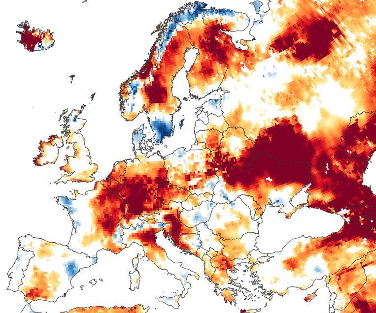 Deze kaart toont een iets positiever beeld in heel Europa, met dank aan recente regenval.