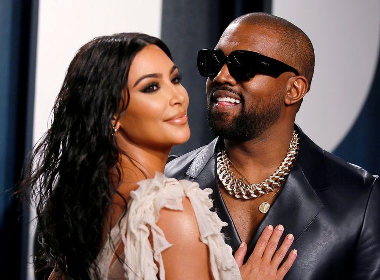 Kanye West en ex-echtgenote Kim Kardashian op een Oscar-feestje vorig jaar. Beeld REUTERS