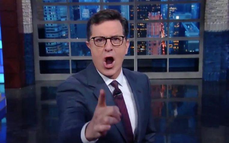 Late Show-host Stephen Colbert. Beeld @colbertlateshow/Twitter.com