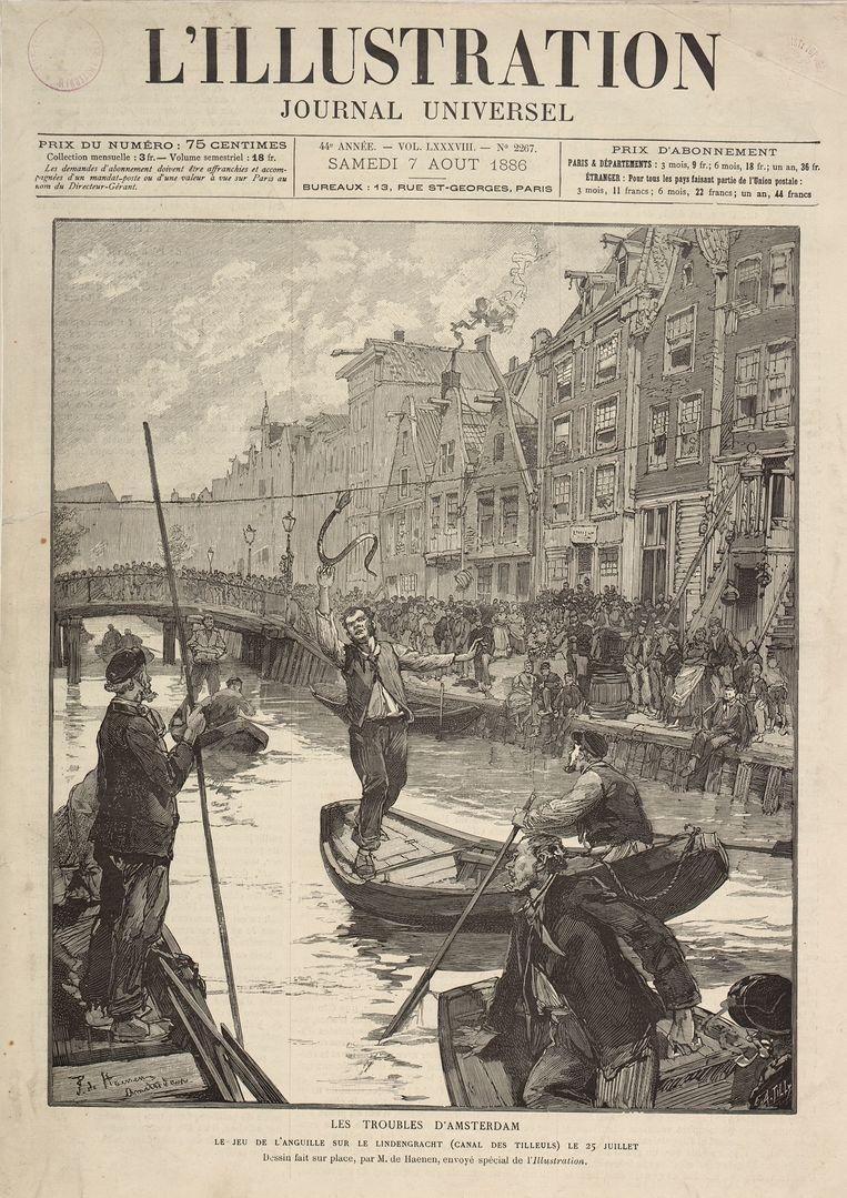 Het Amsterdamse spel 'palingtrekken': wie vanuit een bootje de spartelende vis lostrok, meestal door de kop af te rukken, was de winnaar. Beeld Stadsarchief