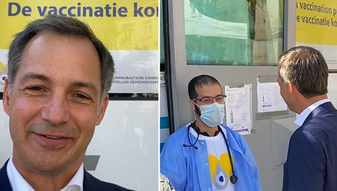 De Croo op bezoek bij de vaccinatiebus in Sint-Gillis.