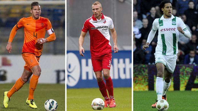 Vlnr, de kandidaten voor de defensie van PSV: nummer 1 Jeffrey Bruma, nummer 2 Mike van der Hoorn en nummer 3 Virgil van Dijk.