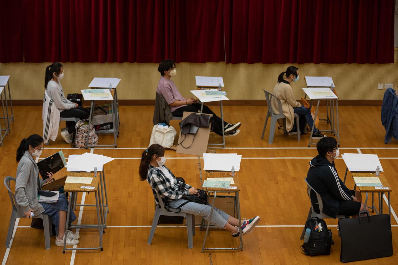 Volgens Tin durven zijn leerlingen nu al geen kritiek meer te geven op China.  Beeld Hollandse Hoogte / AFP