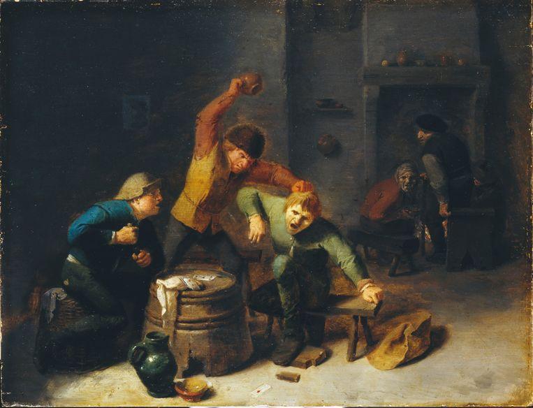 Een boerenvechtpartij bij een kaartspel, door de Vlaamse schilder Adriaen Brouwer (1605-1638). Beeld AKG