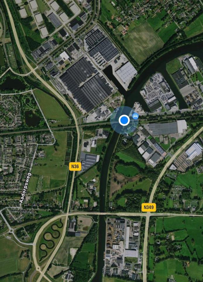 De locatie van de spoorbrug, vlak achter de kanaal-overgang aan de Wierdensestraat