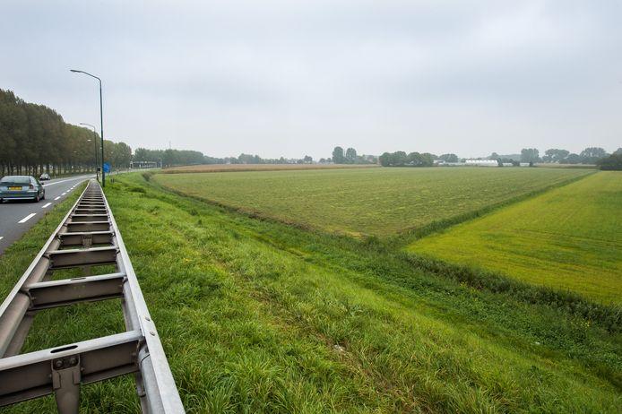 Archieffoto van de plek langs de provinciale weg bij Terheijden waar het zonnepark moet komen.