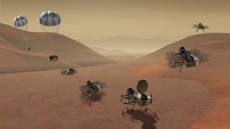 Computertekening van de Dragonfly missie naar Titan Beeld NASA