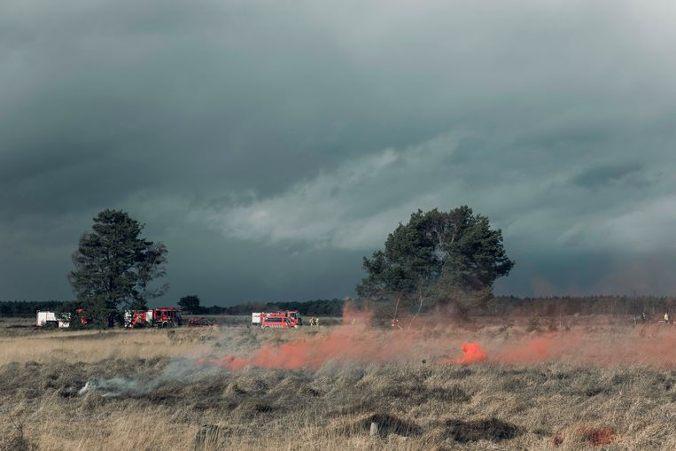 Een beeld van de brandblusoefening.