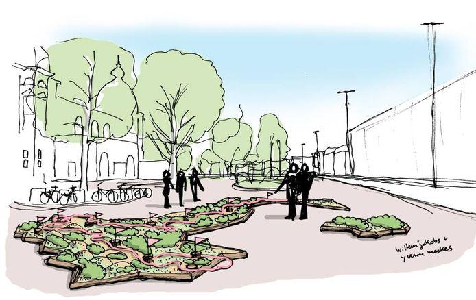 Schetstekening van het ontwerp voor de 'groene' landkaart van Italië in Arnhem.