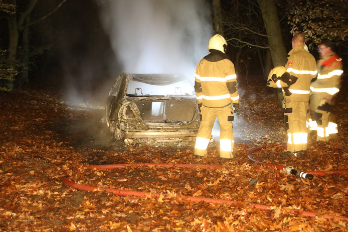 Auto uitgebrand in bos in Oss