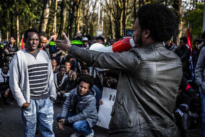 Een betoging van tientallen Eritreeërs en sympathisanten in Veldhoven. De politie greep daar in. Foto ter illustratie.