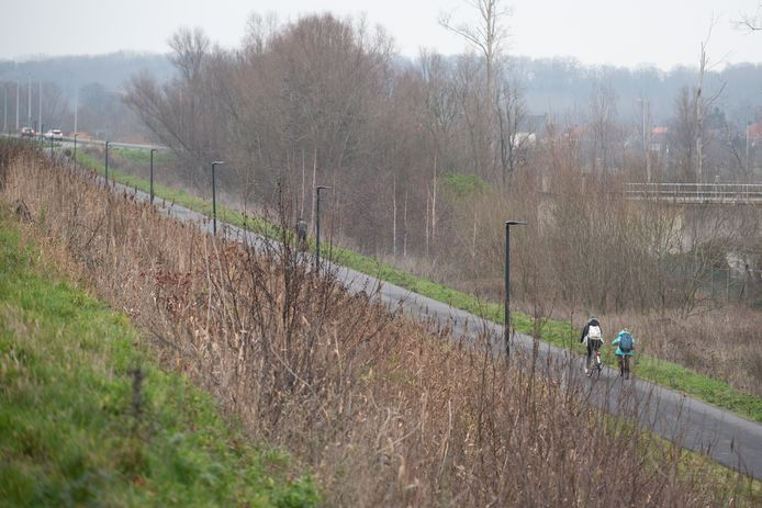 De ringweg die het studiebureau voorstelt, zou starten aan de Lotharingenbrug, hier tussen het fietspad en de site Santens komen en leiden naar de rotonde Samsonite.