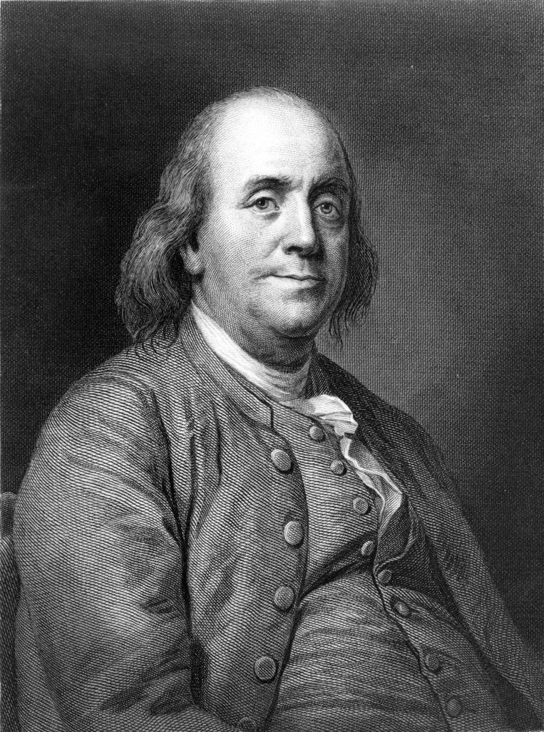 Benjamin Franklin nam graag een luchtbad (lees: was naakt). Beeld dm