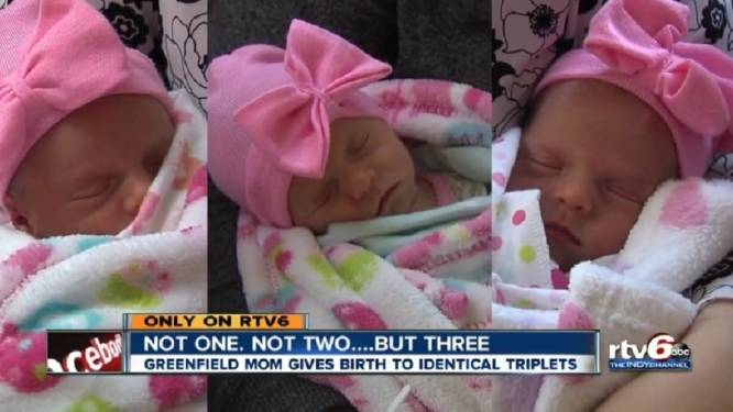 Zeldzaam: drie identieke zusjes geboren
