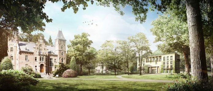 Een impressie van de volgens Vught te grootse nieuwbouw op landgoed Roucouleur in Vught.
