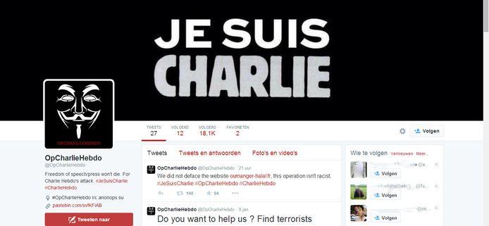 Het twitteraccount van Anonymous gaat over tot actie tegen de terroristen. De leus Je Suis Charlie is groots te zien op de site.