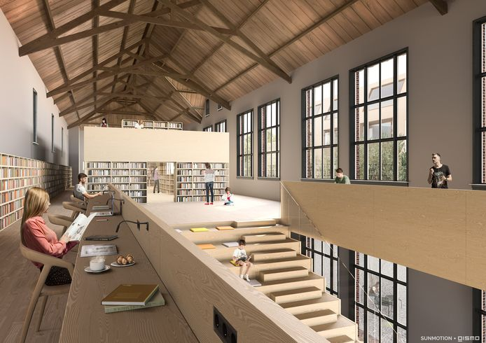 Een impressie van de bibliotheek in de oude Sint Petrusschool in Waalwijk. Op dit moment loopt een onderzoek naar de haalbaarheid.