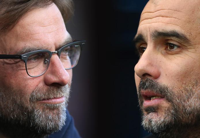 Ook Jürgen Klopp (l) en Pep Guardiola stuwen elkaar naar grote hoogten.