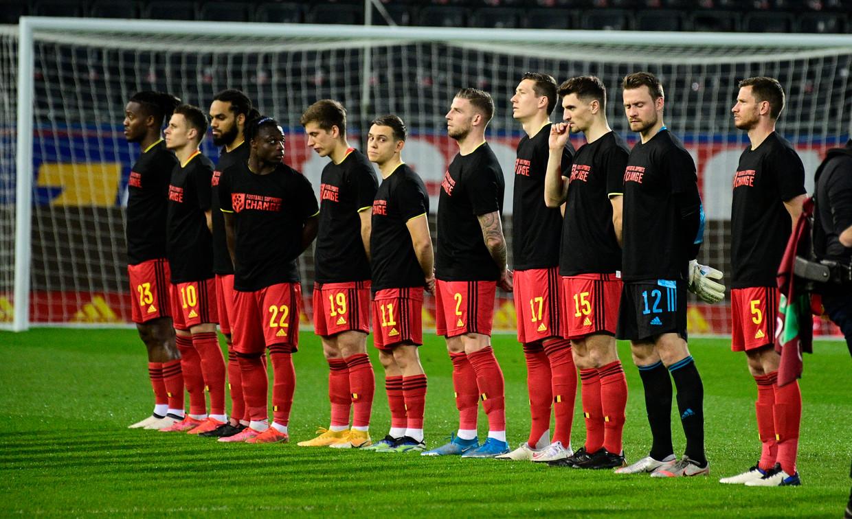 Het statement van de Rode Duivels voor de wedstrijd Belgie - Wit-Rusland Beeld BELGA