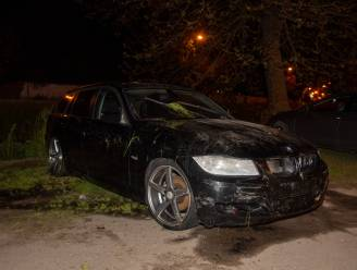 BMW mist bocht en duikt water 't Liefken in