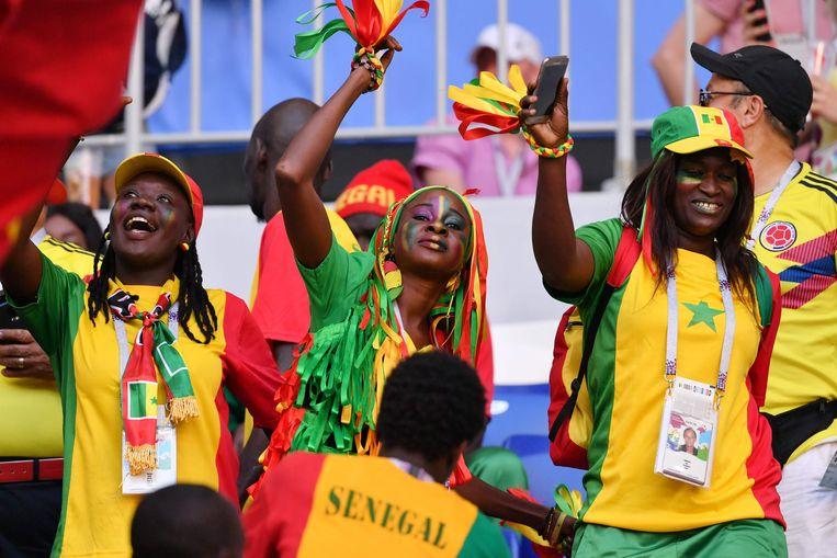 Senegalese fans bij de wedstrijd tegen Colombia in Samara. Beeld AFP
