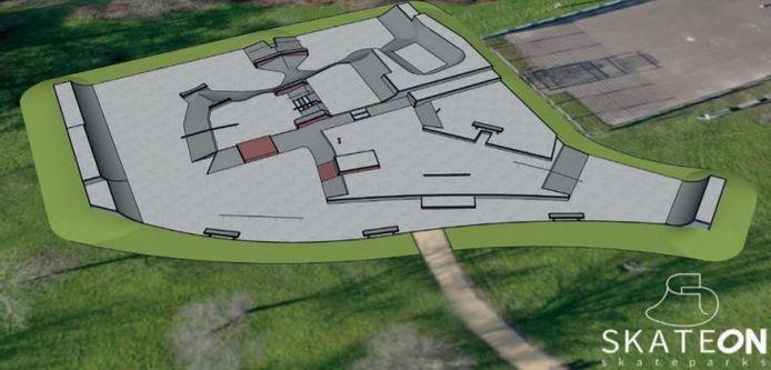 Zo komt het skatepark in het Baxpark eruit te zien.