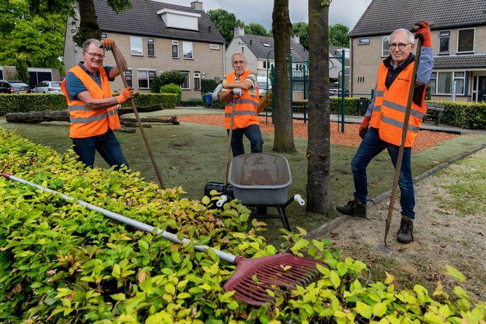 Ben Hendriks, Peter Pennings en Henk van Oorschot (vlnr) uit Schijndel houden hun straat en wijk onkruidvrij, een vorm van buurkracht.