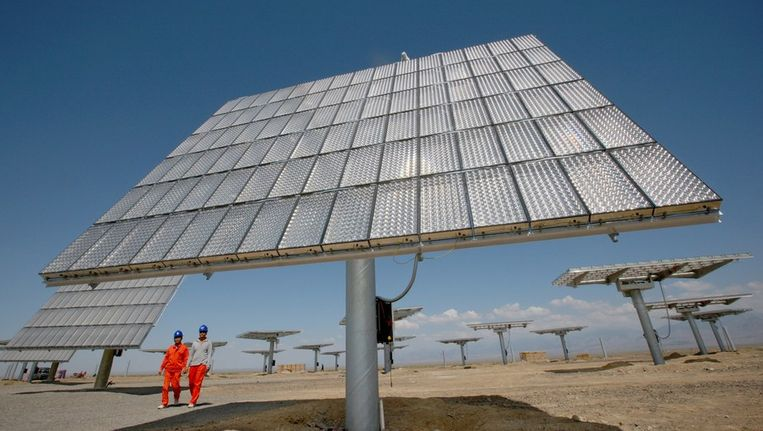 Zonnepanelen in de Chinese regio Xinjiang. Beeld afp