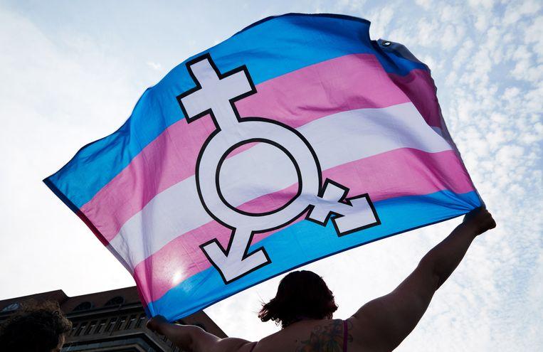 Tijdens de internationale dag tegen homofobie, transfobie en bifobie in Berlijn, afgelopen mei, werd gezwaaid met genderneutrale vlaggen ter ondersteuning van rechten van de LGBT-gemeenschap. Beeld EPA