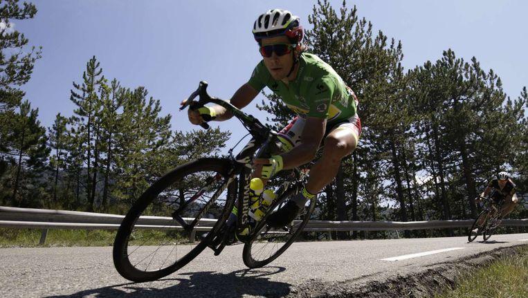Sagan stoof in de afdaling als een gek achter Plaza maar kwam te laat Beeld AFP
