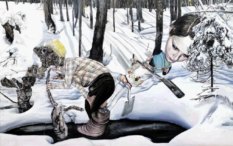 Léopold Rabus: 'Sneeuw en Vos', 2007, 240 x 380 cm. (Trouw) Beeld