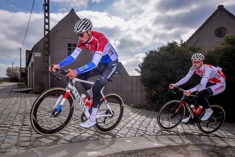 Mathieu van der Poel op de Paterberg tijdens een verkenning van de Ronde van Vlaanderen van 2019. Beeld BELGA